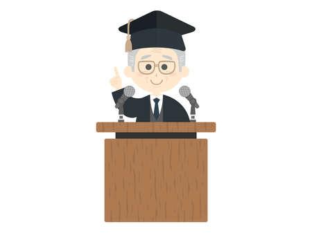 An illustration of an elderly professor giving a speech. Illustration