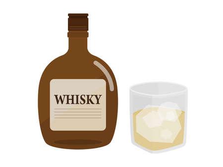 Illustration of whisky bottle and whiskey glass.
