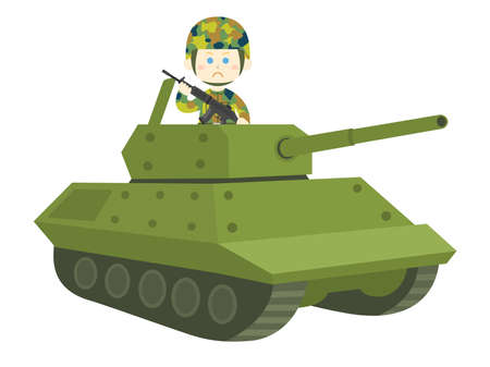 Illustration of a white soldier in a tank.