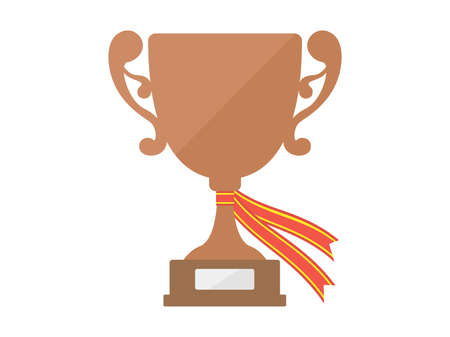 Illustration of a copper trophy with a ribbon. Vettoriali