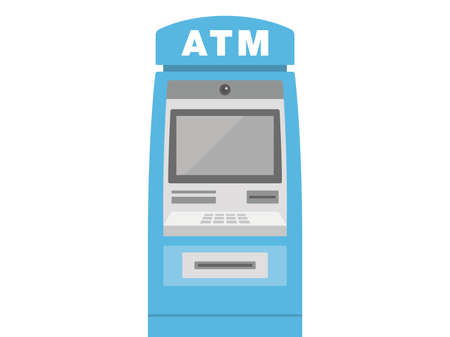 Illustration of a blue atm.