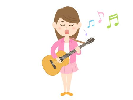 Illustration of a female musician singing while playing the guitar
