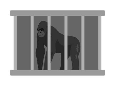 Illustration of a gorilla in a cage.