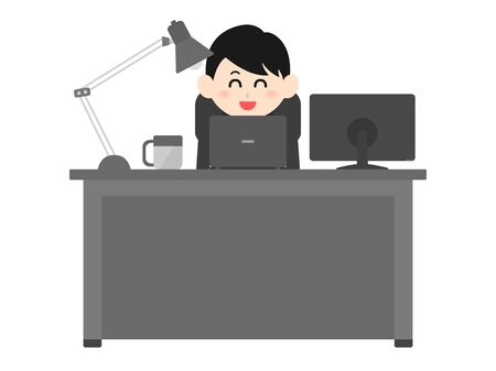 Illustration of a man working at a desk  イラスト・ベクター素材