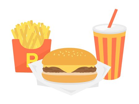 Illustration of cheeseburger set  イラスト・ベクター素材