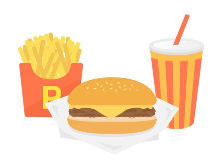 Illustration of cheeseburger set 向量圖像