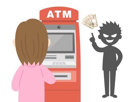 Illustration of a woman in a transfer scam