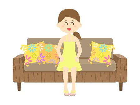 Illustration of a woman sitting on a sofa in a resort Ilustrace