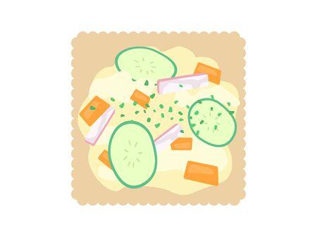 Illustration of a cracker with potato salad