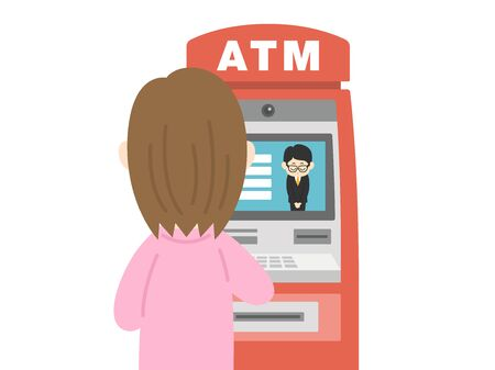 Illustration of a woman using a cash machine