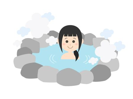 Illustration of a woman in a hot spring