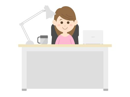 Illustration of a woman working at the desk.