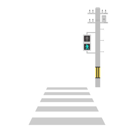 Illustration of a crosswalk with a green light.