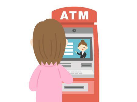 Illustration of a woman using a cash machine.  イラスト・ベクター素材