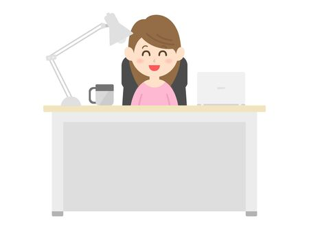Illustration of a woman working at a desk.
