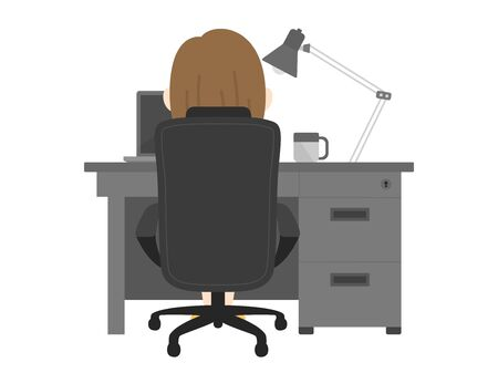An illustration of a woman working at a desk.  イラスト・ベクター素材