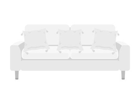 Illustration of a white sofa. Çizim