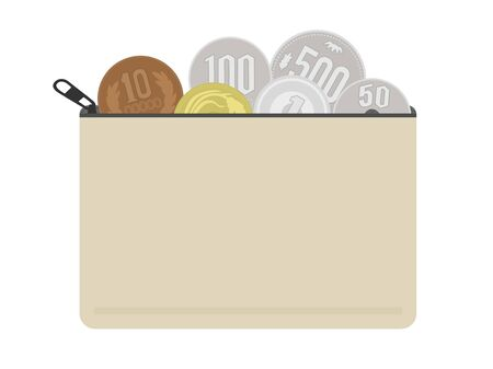 Illustration of a pouch with small change. Vettoriali