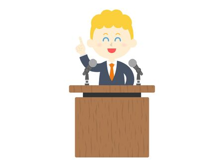 Illustration of a white man giving a speech.