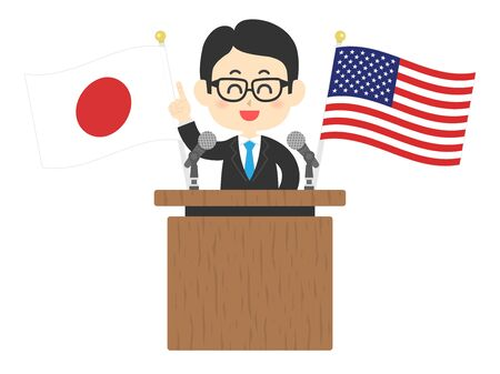 An illustration of a person addressing Japan and the United States. Illustration