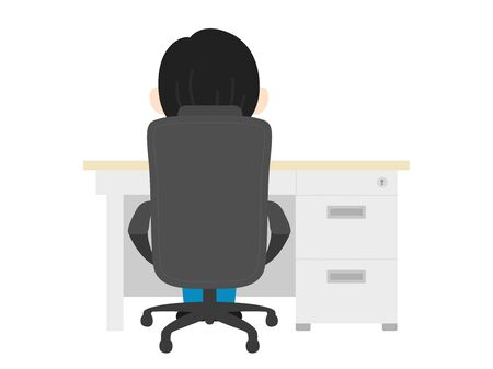 Illustration of the back of a man working at the desk.