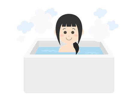 Illustration of a woman taking a bath.