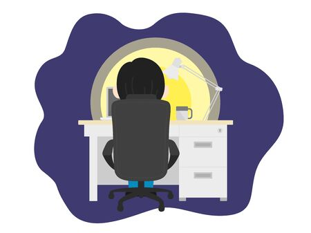 Illustration of a man working at a desk at night.