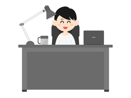 Illustration of a man working at a desk.