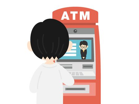 Illustration of a man using atm