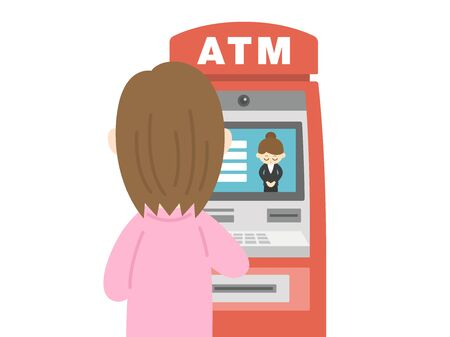 Illustration of a woman using atm