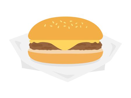 Illustration of cheese burger. Stock Illustratie