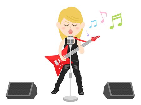 Illustration of a female rock musician