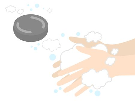 Illustration of washing your hands with soap Foto de archivo - 132829851