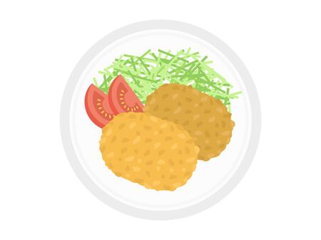 Illustration of croquettes on a plate. 일러스트
