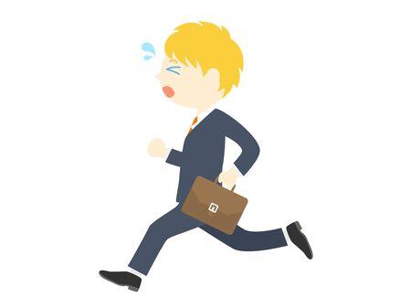 Un hombre de negocios blanco que parece llegar tarde. Ilustración de vector