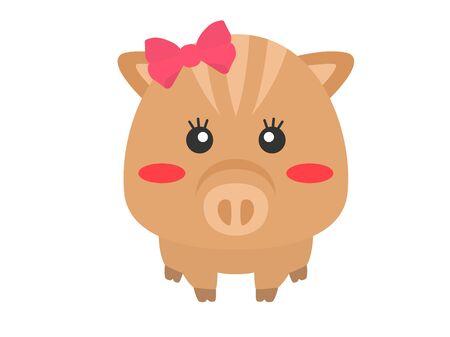 Illustration of a wild boar with a ribbon. Ilustração Vetorial