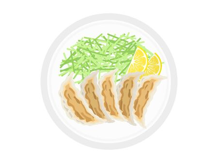 Gyoza illustration on a plate.