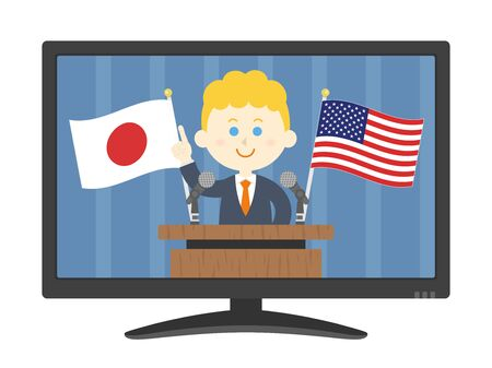 Illustration of a white man addressing Japan and the United States.