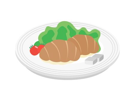 Illustration of bread on a plate. Ilustracja