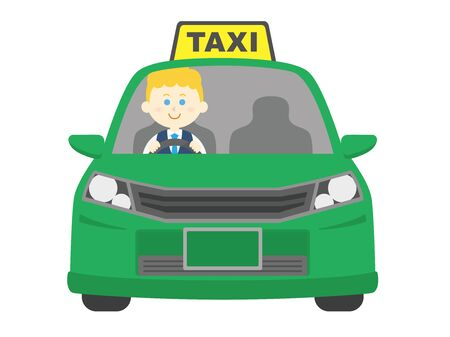 Illustration of a taxi and a white driver.