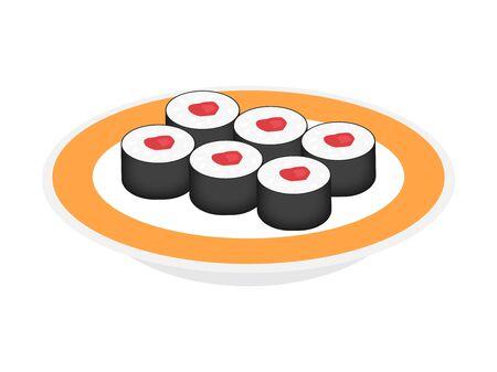 Illustration of tuna rolls. Illustration of Japanese food.