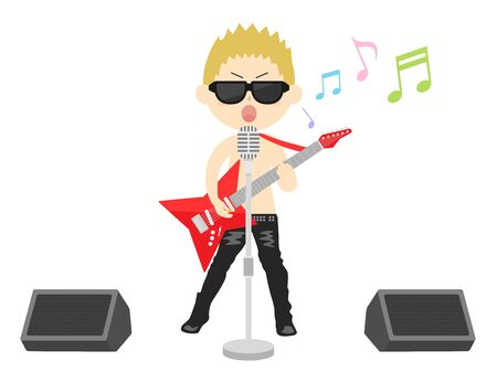 Illustration of a male rock musician.  イラスト・ベクター素材