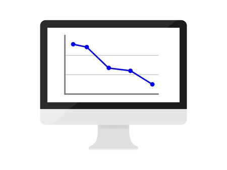 Illustration of the line chart displayed on the computer. Çizim