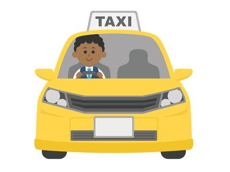 Illustration of a taxi and a black driver.