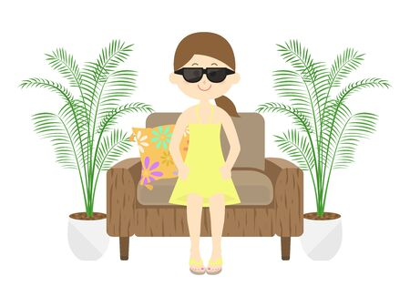 A woman sits on the sofa at a resort hotel. Stock Illustratie
