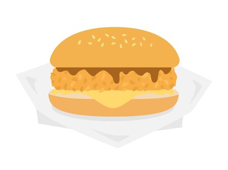 Illustration of fish burger.