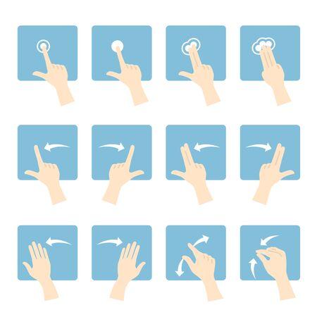 Illustration of hand gestures. Illustration of touch panel. Reklamní fotografie - 132013487