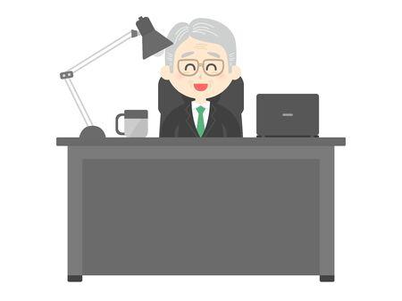 Illustration of senior man working at desk. Ilustração