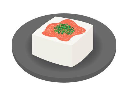 An illustration of tofu with Meitako on board. Иллюстрация