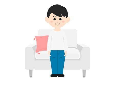 Illustration of a man sitting on the sofa